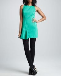 Milly Saxon Satin-panel Dress - Lyst