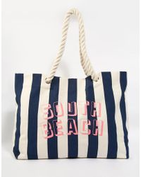 South Beach - Navy Striped Beach Bag With Rope Handle - Lyst