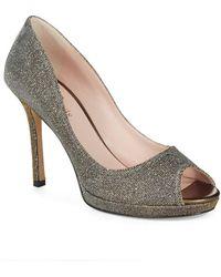 Kate Spade Glitter Peep Toe Pumps - Lyst