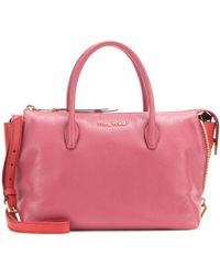 Miu Miu Small Leather Tote pink - Lyst