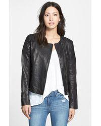 SOIA & KYO 'Trudy' Collarless Lambskin Leather Biker Jacket - Lyst