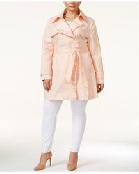 Jessica Simpson - Plus Size Ruffle-trim Trench Coat - Lyst