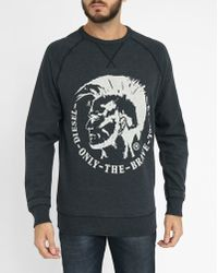 DIESEL | Charcoal Grey Urkawa Logo S-orestes Round-neck Sweatshirt | Lyst
