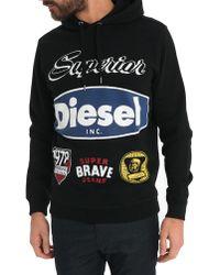 Diesel Khloe Black Printed Hooded Sweater black - Lyst