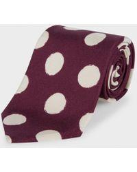 Paul Smith Damson Painted Polka Dot Classic Silk Tie - Lyst