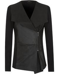 Weekend By Maxmara Leather Drape Front Jacket - Lyst