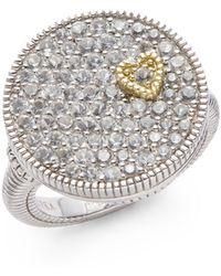 Judith Ripka White Sapphire Sterling Silver Pavã Disc Heart Ring - Lyst