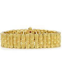 Roberto Coin - 18k Gold Bamboo Bracelet With Diamond Clasp - Lyst