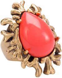 Oscar de la Renta Resin Coral Branch Ring - Lyst