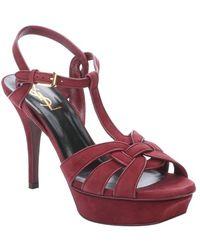 Saint Laurent Carmine Suede 'Tribute' T-Strap Platform Sandals - Lyst