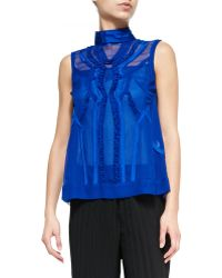Nanette Lepore Call-the-shots Sleeveless Chiffon Top - Lyst