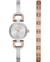DKNY Womens Reade Two-tone Bangle Bracelet Watch Set 24mm - Lyst