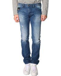 Diesel Thavar Slim-Fit Light Blue Washed-Out Used Jeans - Lyst