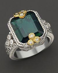 Judith Ripka Estate Bezel Set Emerald Cut Ring - Lyst
