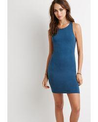 Forever 21 Racerback Bodycon Dress blue - Lyst