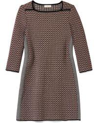 Tory Burch Brown Jacquard Dress - Lyst