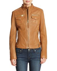 Michael Kors Quilted Detail Leather Jacket - Lyst