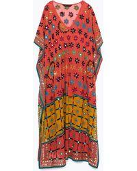 Zara Hand-Embroidered Tunic orange - Lyst