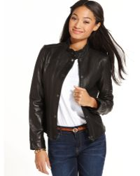Tommy Hilfiger Leather Moto Jacket - Black