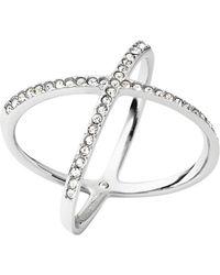 Michael Kors Crisscross Silver-Tone Encrusted Ring - Lyst