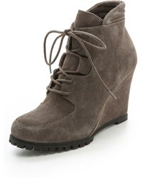 Steven By Steve Madden Wardin Suede Wedge Booties - Black - Lyst