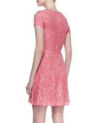 Monique Lhuillier Embroidered Silk Cocktail Dress - Lyst