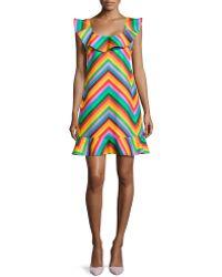 Valentino Chevron Ruffled Scoop-Neck Dress - Lyst