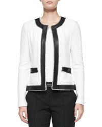 St. John Boucle Trellis Knit Jacket With Leather - Lyst