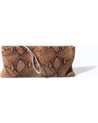 Zara Printed Leather Clutch - Lyst