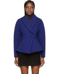 Proenza Schouler Blue Rounded Shoulders Wool Jacket - Lyst