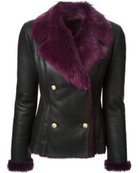 Versus  Fur Lined Double Breasted Jacket - Lyst