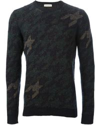 Roberto Collina Pied Poule Jacquard Sweater - Lyst