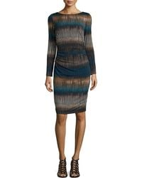 Badgley Mischka Collection Long-Sleeve Print Dress With Ruching - Lyst