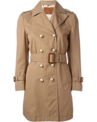 Gucci Washed Gabardine Trench With Leather Details - Brown
