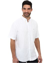 Lacoste Short Sleeve Button Down Linen Woven Shirt - Lyst