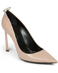 Lanvin Pearl-Studded Leather Pumps beige - Lyst