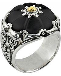 Konstantino - Iris Carved Black Onyx Flower Ring - Lyst