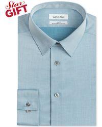 Calvin Klein Steel Non-iron Slim-fit Herringbone Solid Performance Dress Shirt - Lyst