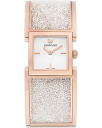 Swarovski Womens Swiss Crystalline Rose Gold Pvdcoated Stainless Steel Bangle Bracelet Watch 23mm - Lyst