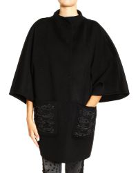 Emilio Pucci Coat Wool with Pocket Embrodery Strass - Lyst