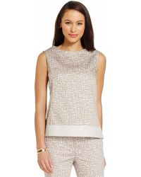 Jones New York Faux-Leather-Trim Printed Shell - Lyst