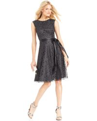 Tahari By Asl Petite Glitter Lace Belted Dress - Lyst