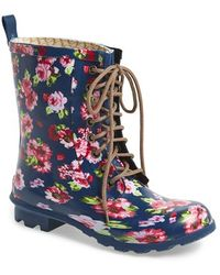 Chooka Floral Print Combat Rain Boot - Lyst