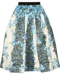 Tibi Sidewalk Floral-print Silk-gazar Midi Skirt - Lyst