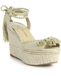 Paul Andrew Patmos Canvas Ankle-Tie Espadrille Wedge Sandals - Lyst