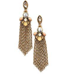 Anne Klein Tassel Drop Earrings - Brass Ox/ Coral Multi - Lyst