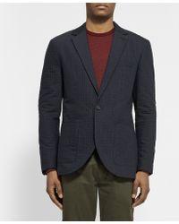 Club Monaco Grant Dot Slim-fit Crinkled Cotton and Wool-blend Blazer - Lyst