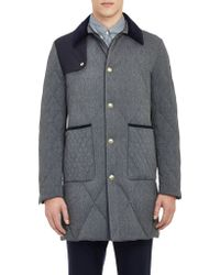 Moncler Gamme Bleu Herringbone Quilted Coat - Lyst