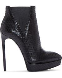 Saint Laurent Black Python_embossed Platform Janis Boots - Lyst