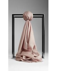 Burberry Embroidered Lightweight Scarf - Lyst